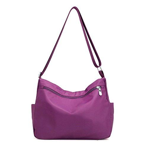 Messenger Bag Nylon Wasserdichte Frauen Tasche Reißverschluss Schultertasche Black