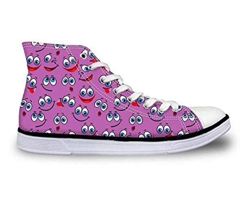MLULPQ& Womens Girls Emoji Print Casual Canvas Sneakers Lace-up Athletic High Top Boots Purple C2606AK. Women's US 7 = EUR 37 -