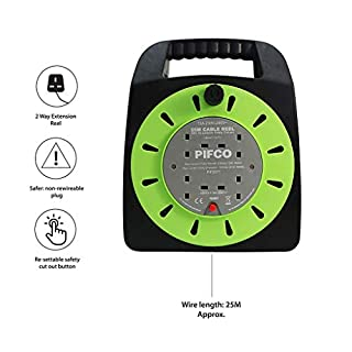 Pifco 4 Way UK 3Pin Plug 13amp Extension Reel with 25 Metre Heavy-Duty Winding Cable and Safety Cut Out Switch -  Black