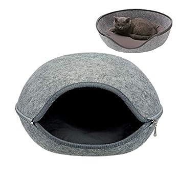 tqgold Lit de Chat 2-in-1Maison & Canapé d'Animal Familier Lavable Doux Chien Chat Chiot Pet Nid Grotte Maison Lit avec Coussin Amovible,Gris