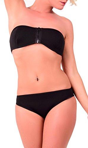 Arunta Neopren Bandeau Surf Bikini Set mit Reißverschluss vorne Schwarz M