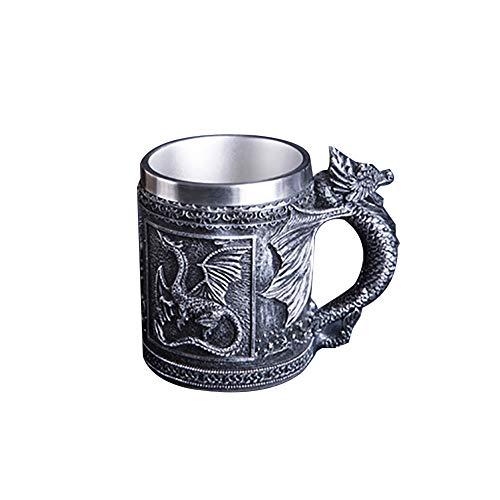 ouken Taza de té Taza de Acero Inoxidable 3D del dragón de la Cerveza del café Creative Design Leche Caliente para los Regalos del Partido (Pterosaurio, 465ml / 16,4 oz)