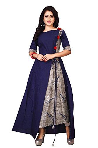 Leriya Fashion Women's Stitched Blue & Grey Rayon & Cotton Printed Anarkali...