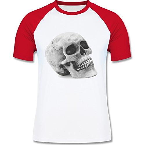 Piraten & Totenkopf - Totenkopf Skull - zweifarbiges Baseballshirt für Männer Weiß/Rot
