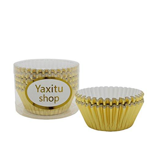 e beschichtetes Papier Kuchen Tasse Cupcake Fällen Liner Muffin Küche Backen Hochzeit Party Kuchen Backen Tasse 100pcs (Gold) (Gold Wrapper, Candy)