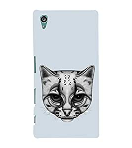 Fuson Designer Back Case Cover for Sony Xperia Z5 :: Sony Xperia Z5 Dual 23MP (cat cat face White cat Dull Looking cat Blue)
