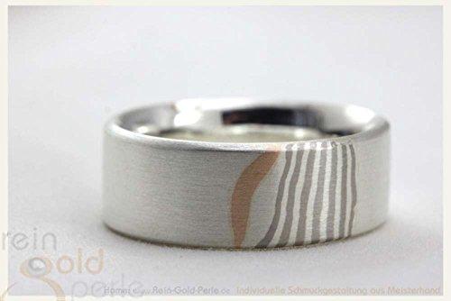 585-serie (♡ Mokume Gane Ring - 585 Rotgold, Palladium, Silber ♡ In Handarbeit gefertigter Ring aus der Serie: - Mokume-Gane -)