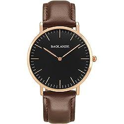 Alienwork Classic St.Mawes Quarz Armbanduhr elegant Quarzuhr Uhr modisch Zeitloses Design klassisch rose gold braun Leder U04814G-04