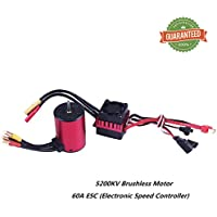 Crazepony-UK 3650 5200KV 3.175mm Sensorless Brushless Motor with 60A Splashproof ESC (Electric Speed Controller) for 1/10 RC Off-Road Cars by