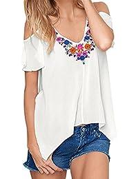 Camisas Mujer,Longra ☆ Camiseta de Manga Corta Para Mujer Blusa de Bordado