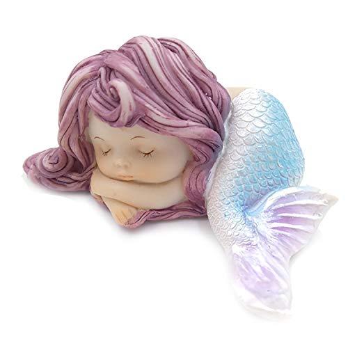 wall-8-CC Dekofigur Meerjungfrau, schlafende kleine Meerjungfrau, Kunstharz, für Miniatur, für Aquarien und Kuchen, 1 Stück