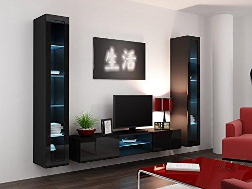 Wohnwand hängend modern schwarz  Wohnwand ' Vigo Glass IV ' Glasvitrine Hängend Hochglanz Matt ...