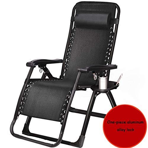 WJJJ Patio Stuhl Schwerelosigkeit Outdoor Stuhl Einstellbare Klappverriegelung Lounge Stühle Single Camp Bett Büro Siesta Bett Deck Deck (Farbe: Schwarz 2, Größe: 52 cm) -