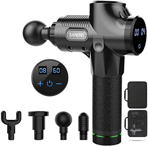 SANJINS Nueva Pistola Fascia, Masajeador Muscular Profundo, 4 Cabezales de Masaje y Pantalla LCD, Para Aliviar el Dolor Muscular