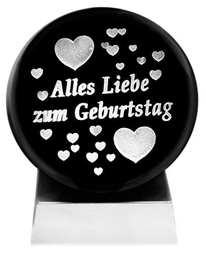 Kaltner Präsente Alles Liebe zum Geburtstag - Bola de cristal (iluminación led y mensaje en 3D grabado a láser, felicitación de cumpleaños, diseño de corazones, [en lengua extranjera])