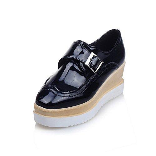 AllhqFashion Femme à Talon Correct Verni Couleur Unie Boucle Carré Chaussures Légeres Noir