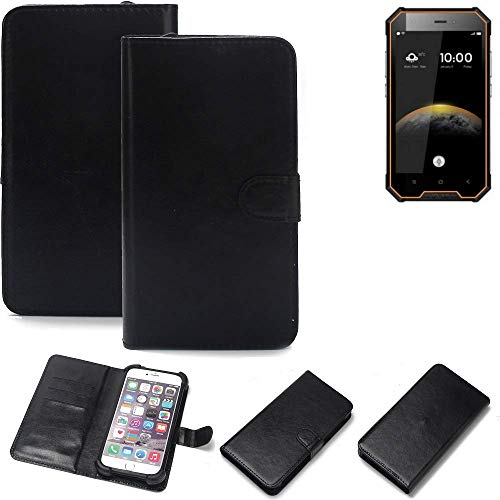 K-S-Trade® 360° Wallet Case Handyhülle Für Blackview BV4000 Pro Schutz Hülle Smartphone Flip Cover Flipstyle Tasche Schutzhülle Flipcover Slim Bumper Schwarz, 1x