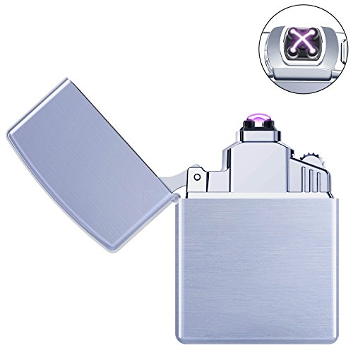 Ommani Arc Encendedo Eléctrico Mechero USB Batería Doble láser sin llama Resistente al Viento Arc Encendedor Plasma más Ligero para los Fumadores with Cable Micro USB