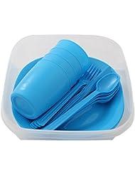 Presupuesto lata camping set para 4personas con platos, vaso y cubiertos, azul - 1 unidad, 1 pieza