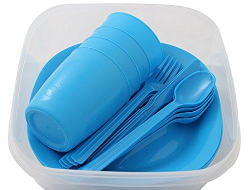 Menz Outdoor - Camping-/Picknick-Set, 2 Set in blau | Geschirrset für 4 Personen 21-teilig aus Kunststoff mit Teller, Becher und Besteck - Made in Europe