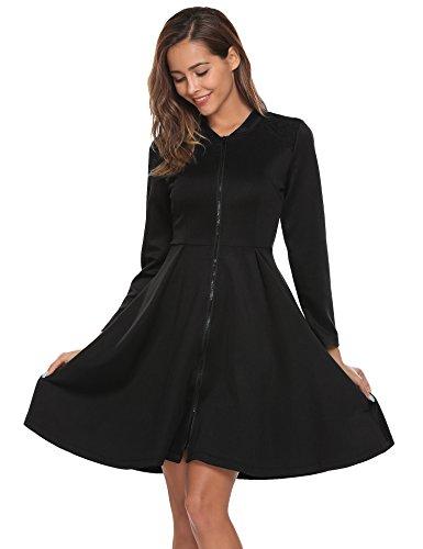 zeela Damen Herbst Langarm Skaterkleid Swing Kleid Reißverschluss vorne Vintage Cocktailkleid mit...