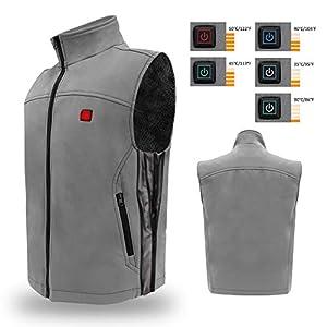 Keymao Elektrische Beheizte Weste Größe Temperatur Einstellbar Warmer Weste USB-Lade Beheizter Kleidung Gilet Unisex und Schwarz (grau, einstellbar)