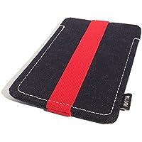 Blum - Jeans Hülle - Größe L - Passend für Samsung Galaxy S8 | S7 | S6 Edge | S5 Neo | A5 | Note 3 Neo etc. - Schlaufe rot