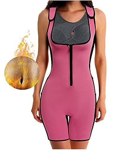 Gotoly Damen Neopren Abnehmen heißen Sauna Schwitzanzug Ärmeln für Gewichtsverlust (S Für 34, Rosa)