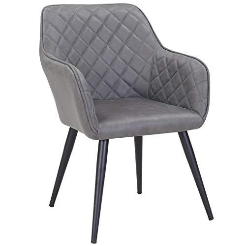Duhome Esszimmerstuhl aus Stoff Lederoptik Dunkel Grau Farbauswahl Retro Design Armlehnstuhl Stuhl mit Rückenlehne Sessel Metallbeine 8058