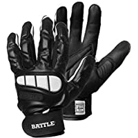 ‏‪Battle Sports Adult Football Lineman Gloves Large Black‬‏