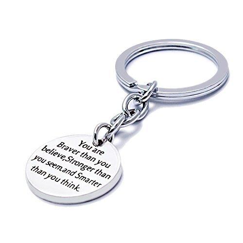Silber Legierung Sie mutiger Starke Schlauer als You Believe Schlüsselanhänger Ring Familie Friend Damen Herren Geschenk, Alloy
