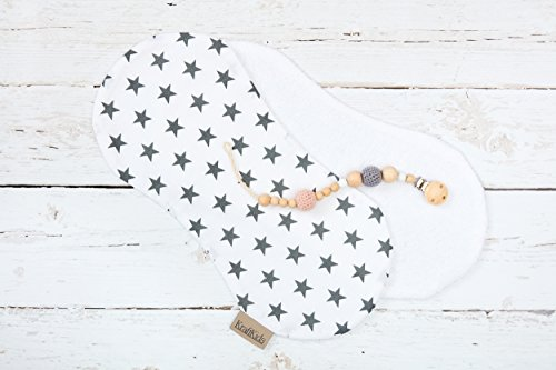 KraftKids Spucktuch kleine graue Sterne auf Weiss