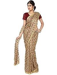 Ethnic Bliss Lifestyles Women's Chiffon Saree Without Blouse Piece (Ebl-Phksr-Mc-Bg-01A _Beige & Multicolured)
