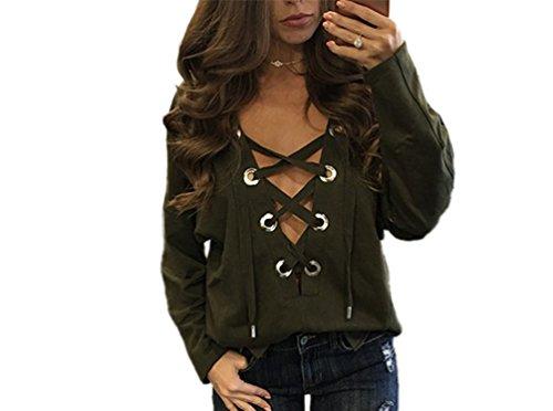 NiSeng Damen Tops lange Ärmel T-Shirt V-Ausschnitt mit Schnürung Vorne Oberteil Bluse Shirt Armee M
