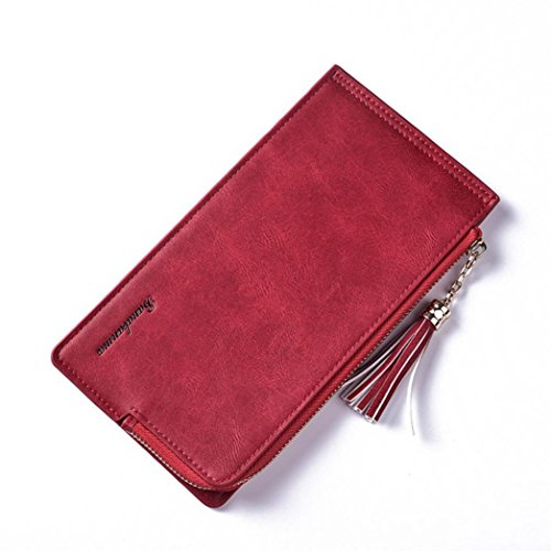 Portafoglio Donna, Tpulling Borsa lunga della borsa di svago del raccoglitore del cuoio della chiusura lampo delle donne (Black) Red