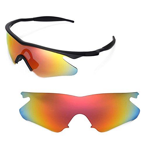 Walleva Ersatzgläser für Oakley M Frame Heater Sonnenbrille - Mehrfache Optionen (Feuer Red Mirror Coated - Polarisiert)