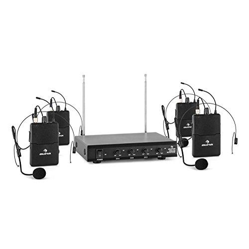 auna VHF-4-HS • 4-Kanal VHF-Funkmikrofon Set • Funk-Mikrofon System • 4 x kabelloses Headset Mikrofon • 50 m Reichweite • Lautstärkeregler • LED • lange Betriebszeiten • Klinken-Ausgänge • schwarz