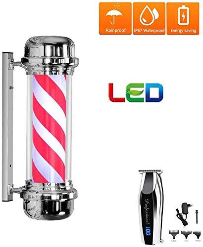 Salon Geschäft Barber Pole, im Freien Wasserdichten Rotating energiesparende LED-Licht Haar-Schönheits-Sign Illuminating Red White Stripes mit Haar-Scherer, Schwarz, 71cm,rot,71cm