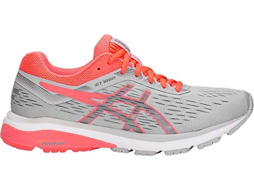 ASICS GT1000 7 Shoe Women's Running 6.5 Mid Grey-Flash Coral