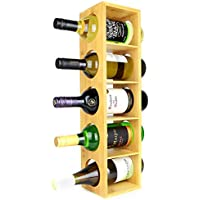 Bamboo Wine Rack | Wall Mounted 5 Bottle Holder Stand | Wooden Pre-assembled Wine Shelf Cabinet | Stackable Modular Design | M&W