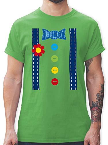Karneval & Fasching - Clown Kostüm blau - XL - Grün - L190 - Herren T-Shirt ()