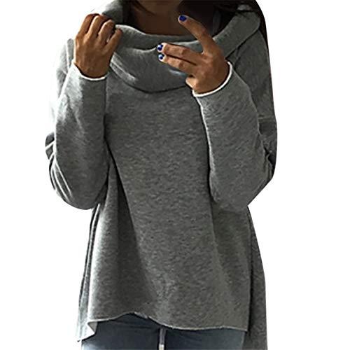 (B-commerce-Frauen-Fester Pullover - Mode Lange Hülsen Reine Farbenoberteil Hauben Stehkragen T-Shirt Damen-Sport Outwear Frühlingsbluse)