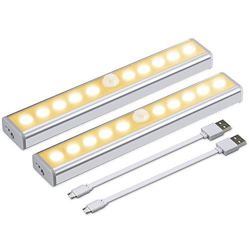 Jirvyuk LED Schrankbeleuchtung Nachtlicht, Stick-On Anywhere 10LEDs Wireless-Kabinett-Nachtlicht mit abnehmbarem Magnet Adsorption,für Schrank Kabinett Küche Schublade (Warm weiß 2 Stück)