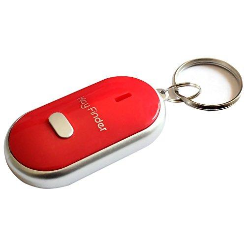 Tnkinuyi Schlüssel Finder - Locator Schlüsselanhänger mit LED - Licht Whistle Key Finder, Fernbedienung durch Ton für Schlüssel, Brieftaschen, Kind, Auch alte Leute 4 Farben (Rot) -