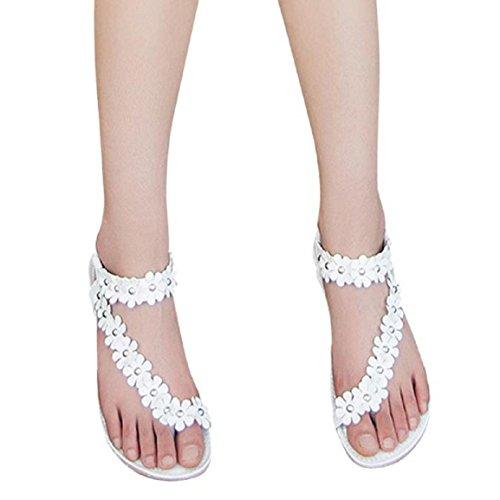 Chaussures, Malloom Mode Féminine Bohême Douce D'été Douces Perles Sandales Clip Orteil Sandales Plage Chaussures Chevrons Sandales (38, Blanc) Blanc
