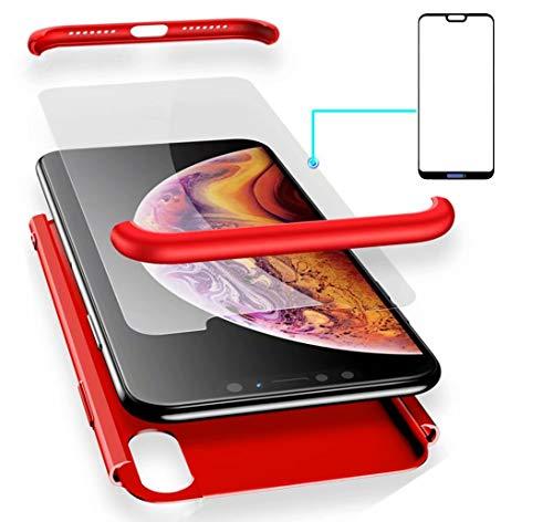 AILZH Huawei P20 Lite Hülle 360°Schutzhülle PC Hartschale Anti-Schock HandyHülle Anti-Kratz Stoßfänger 360 Grad Full-Cover Case Matte Schutzkasten+Gehärteter Glasfilm(5.84