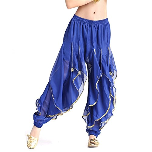 Damen Bauchtanz Hose Silber Rand Harem Hose Tanzen Kostüm (Plus Size Indische Halloween Kostüme)