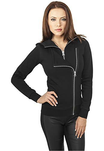 Urban Classics Ladies Biker Sweat Jacket Felpa jogging donna nero XL