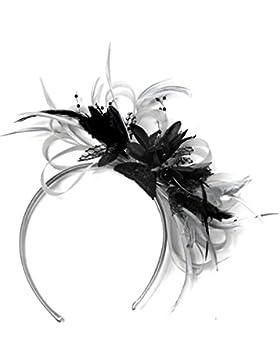 Plata neta Negro y Gris Pluma de aro Tocado para cabello diadema boda Royal Ascot de carreras