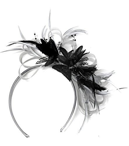 Haarreif mit Fascinator, silber, grau und schwarz, für Hochzeiten und Pferderennen